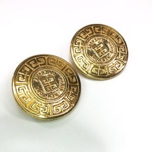 GIVENCHY Vintage Gold Tone Medallion Clip Earrings